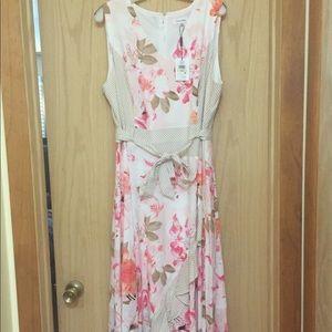 New Calvin Klein 18W Pink Floral Ruffle Dress